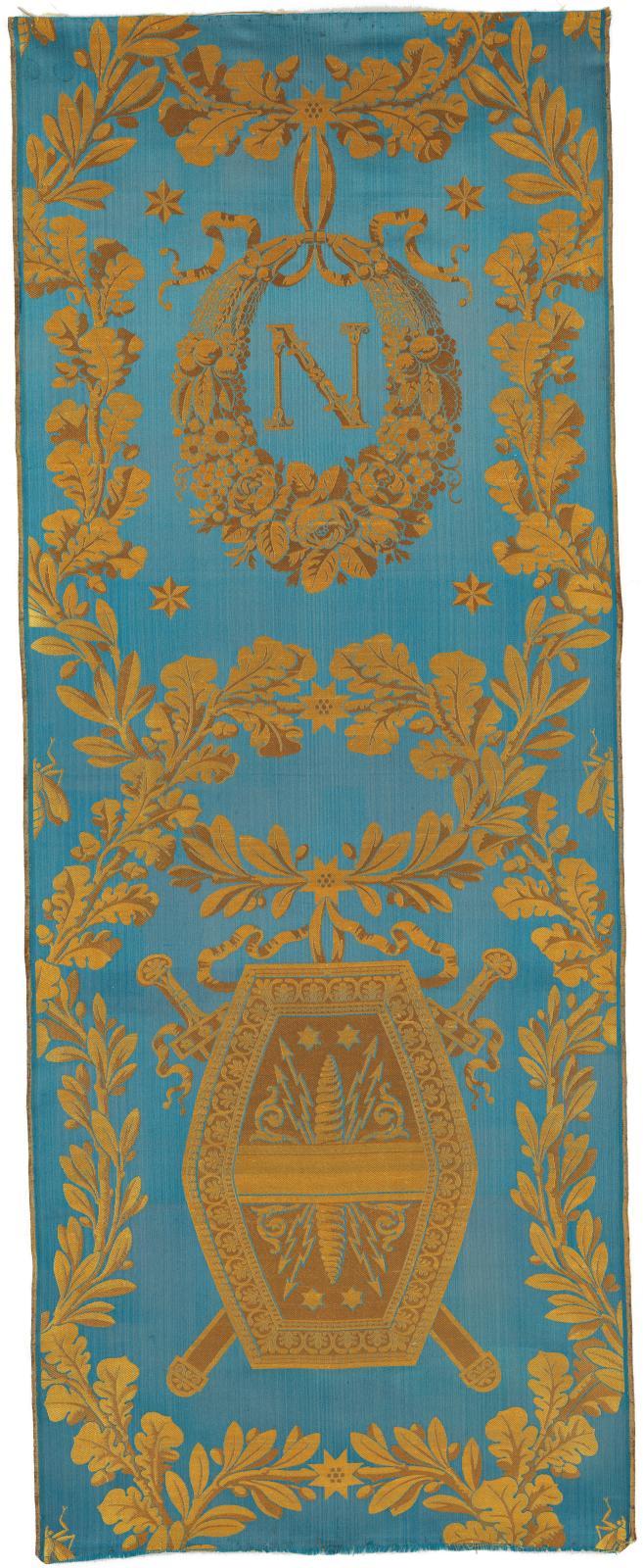 Tenture en damas bleu pour le premier salon de l'Empereurau palais de Meudon (détail), par Grand Frères d'après Alexandre Brongniart, 180