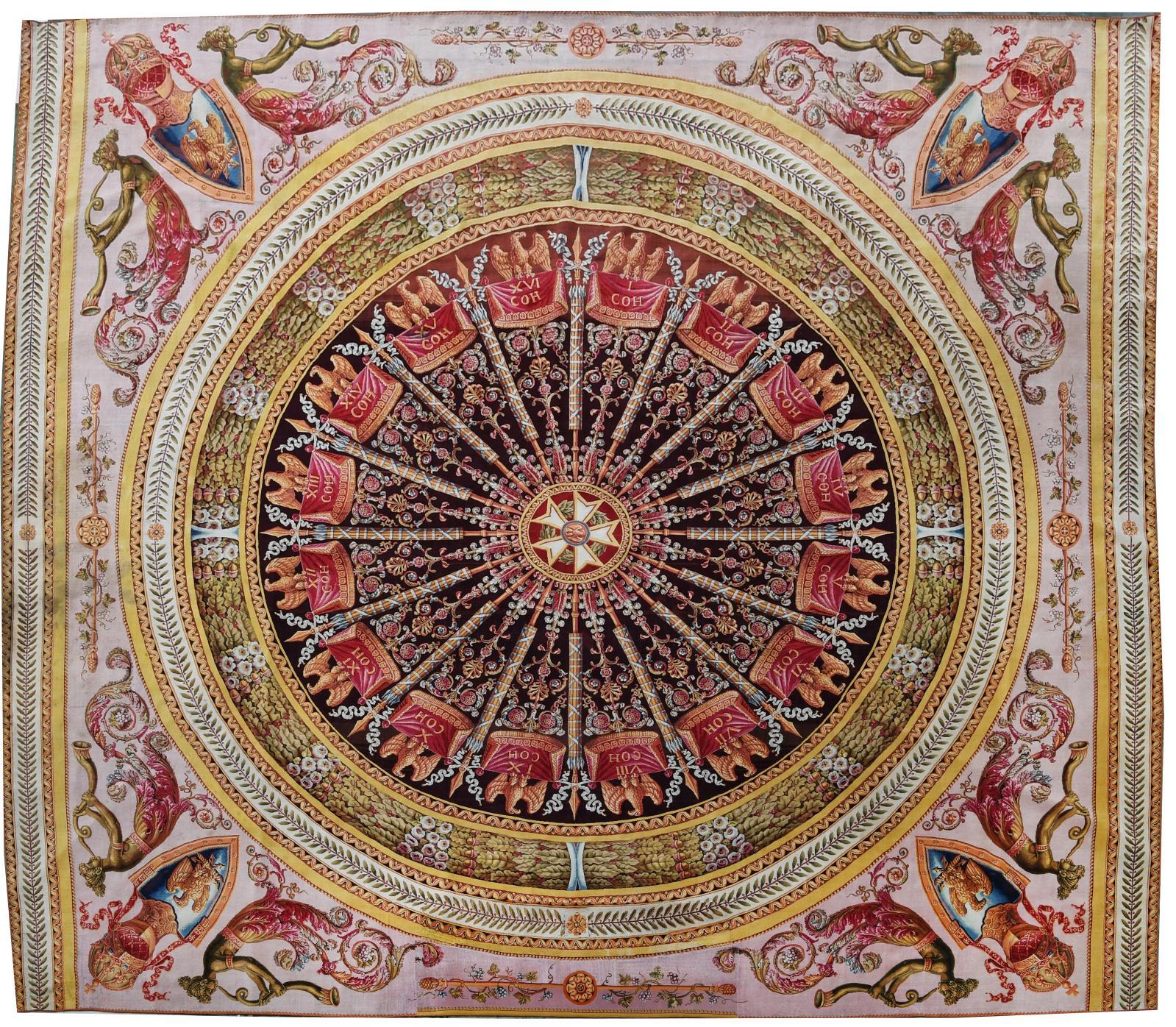 Manufacture de Piat Lefebvre, Tournai, Tapis des Cohortes (détail), d'après Charles Percier, point noué, ayant figuré à l'Exposition des p