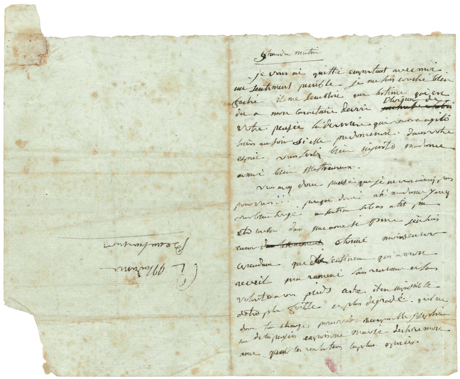 Napoléon Bonaparte (1769-1821), lettre autographe signée «BP» adresséeà Joséphine, fin février ou début mars 1796. Drouot, 19 novembre 20