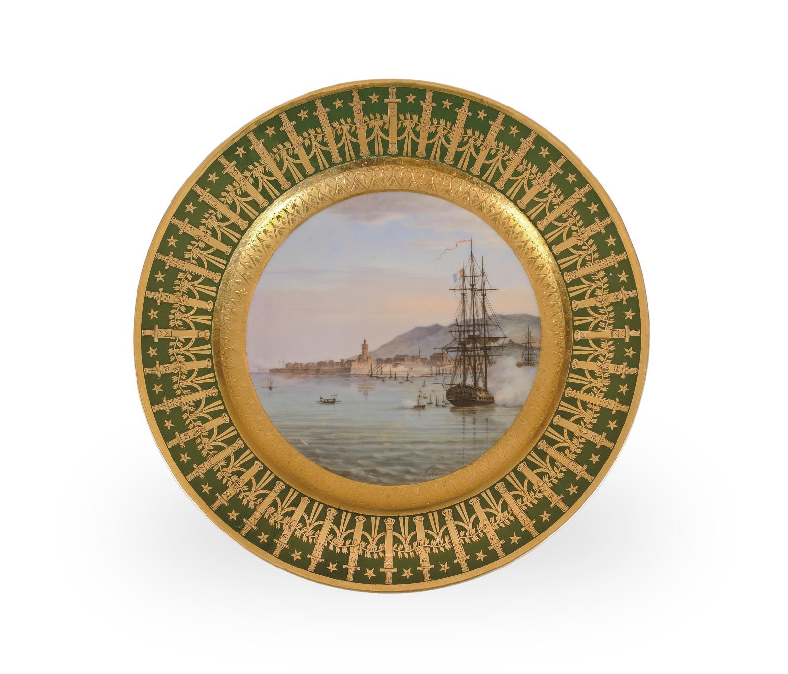 Manufacture impériale de Sèvres, assiette à dessert du service particulier de Napoléon Ier dit «des quartiers généraux», peinte en 1808 pa