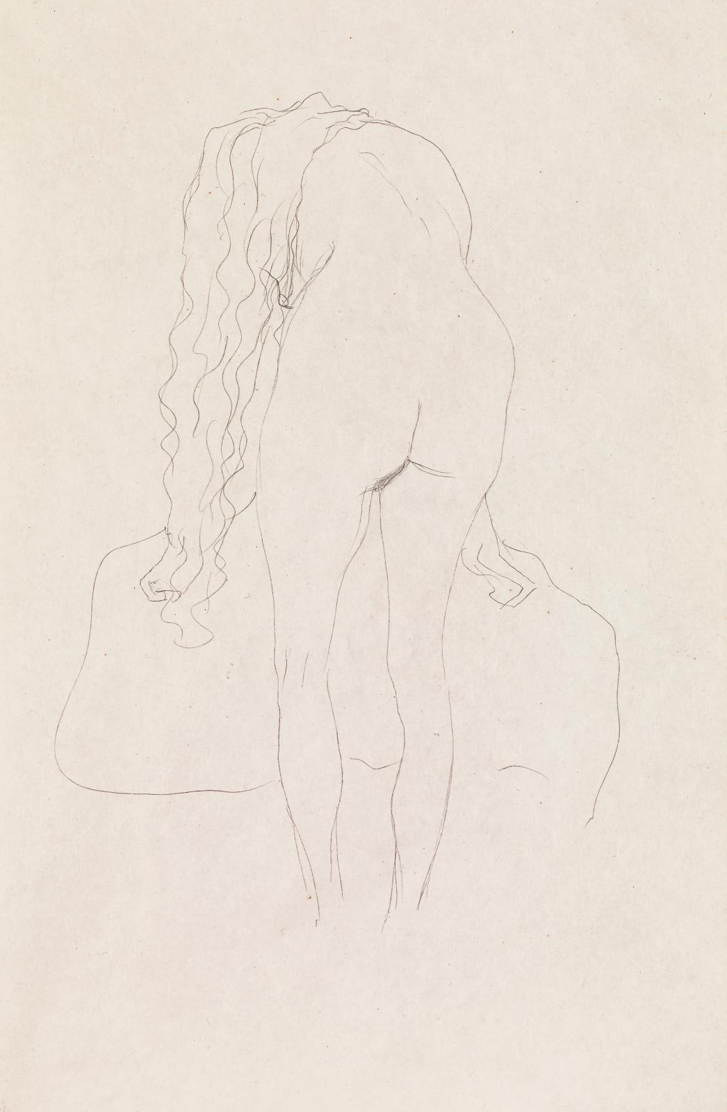 Gustav Klimt (1862-1918), Nu penché en avant, de dos, dessin au crayon, 1907-1908, 56,5x37cm. Estimation: 35000/70000€