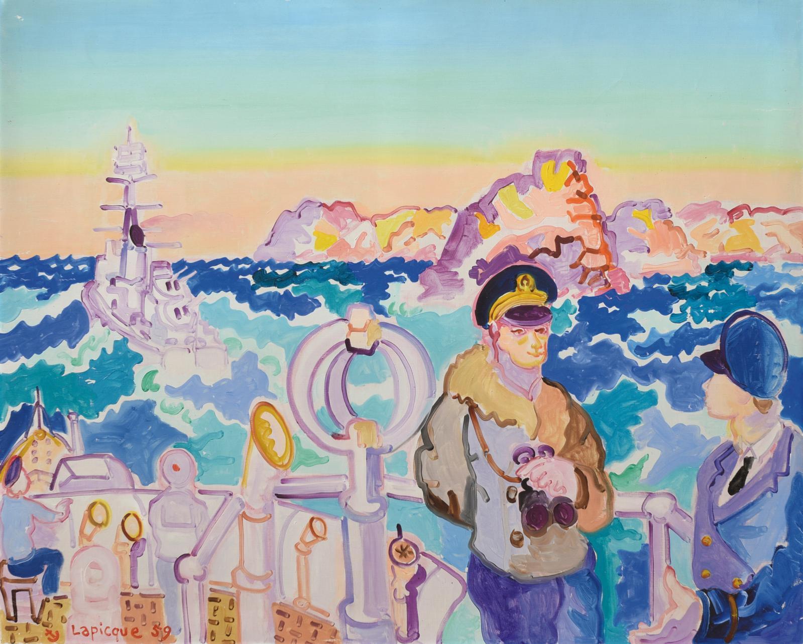 Charles Lapicque (1898-1988), Manœuvres au large de Brest, 1959, huile sur toile signée et datée, contresignée et titrée au dos, 81x100