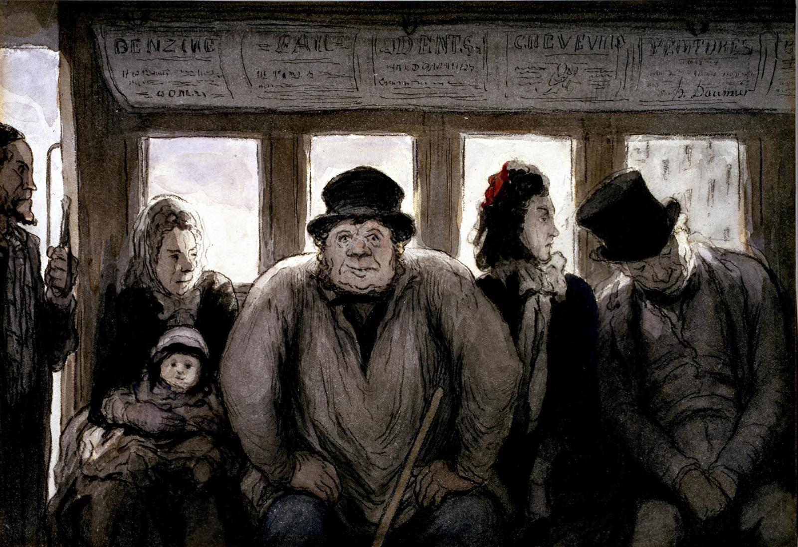 Honoré Daumier (1808-1879), The Omnibus, ink, watercolor, and black lithographic crayon on cream, moderately thick, moderately textured wo