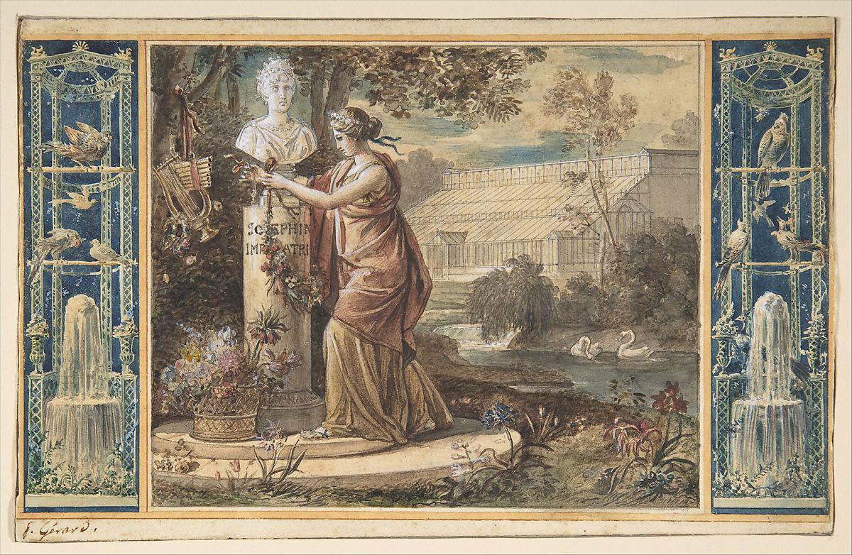 François Gérard (1770-1837), An Allegory of Empress Josephine as Patroness of the Gardens at Malmaison, c. 1805–1806, watercolor and pen a