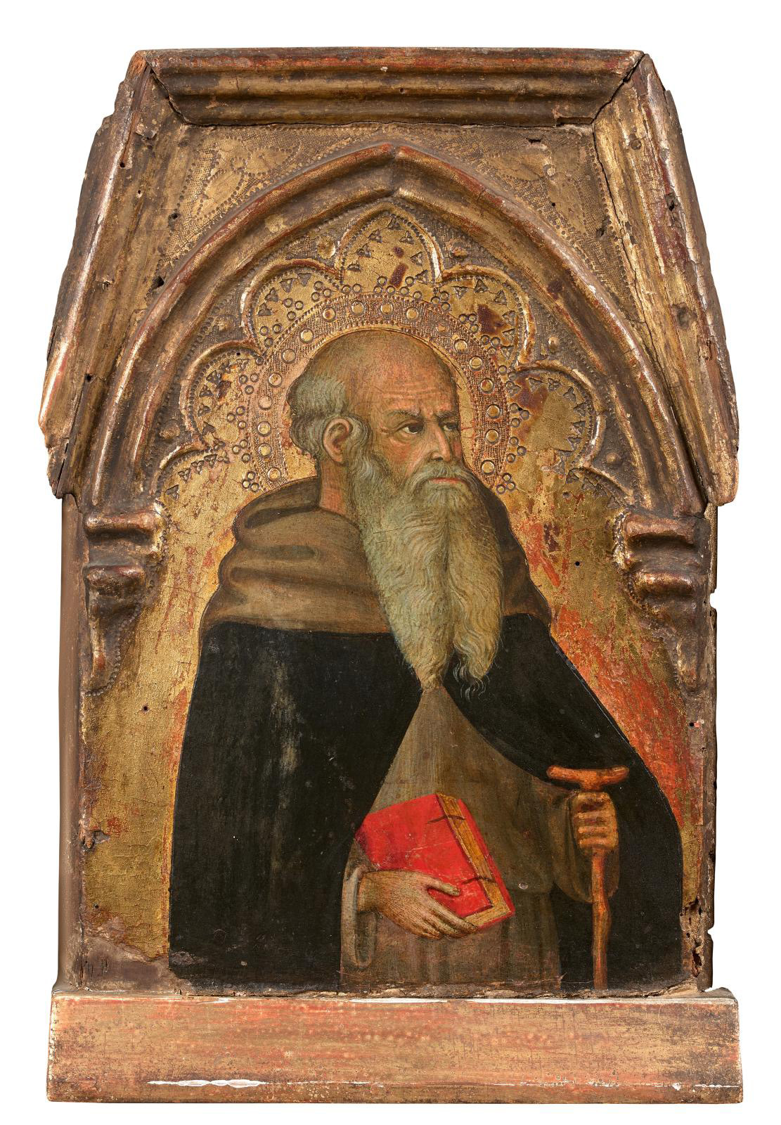 Bartoldo di Fredi (1330-1410), Saint Anthony the Abbot, upper register panel of an altarpiece, trapezoidal with multifoiled ogival arch, t