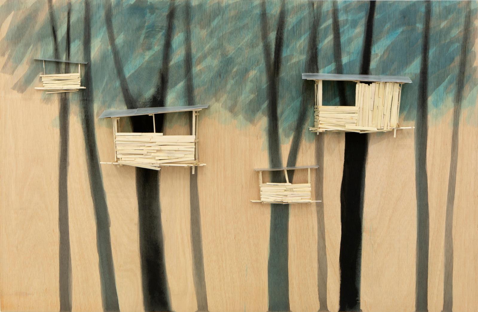 Tadashi Kawamata, Tree hut in Tremblay Plan no. 90, 2021, model in wood, glue and paint, 100 x 153 x 12 cm/39.4 x 60.2 x 4.7 in.© Tadashi