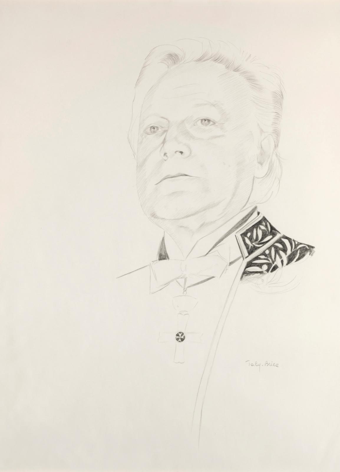 Taly-Brice (né en 1945), Portrait de Maurice Druon en habit d'académicien, crayon, 63x47,5cm. Estimation : 120/150 €