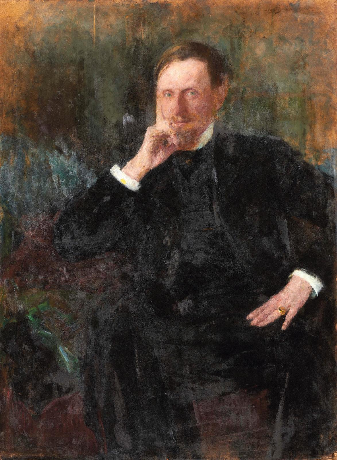 Olga Boznanska (1865-1940), Portrait présumé de Louis Libaude,1804, huile sur carton, 108x80cm. Estimation: 50000/70000€