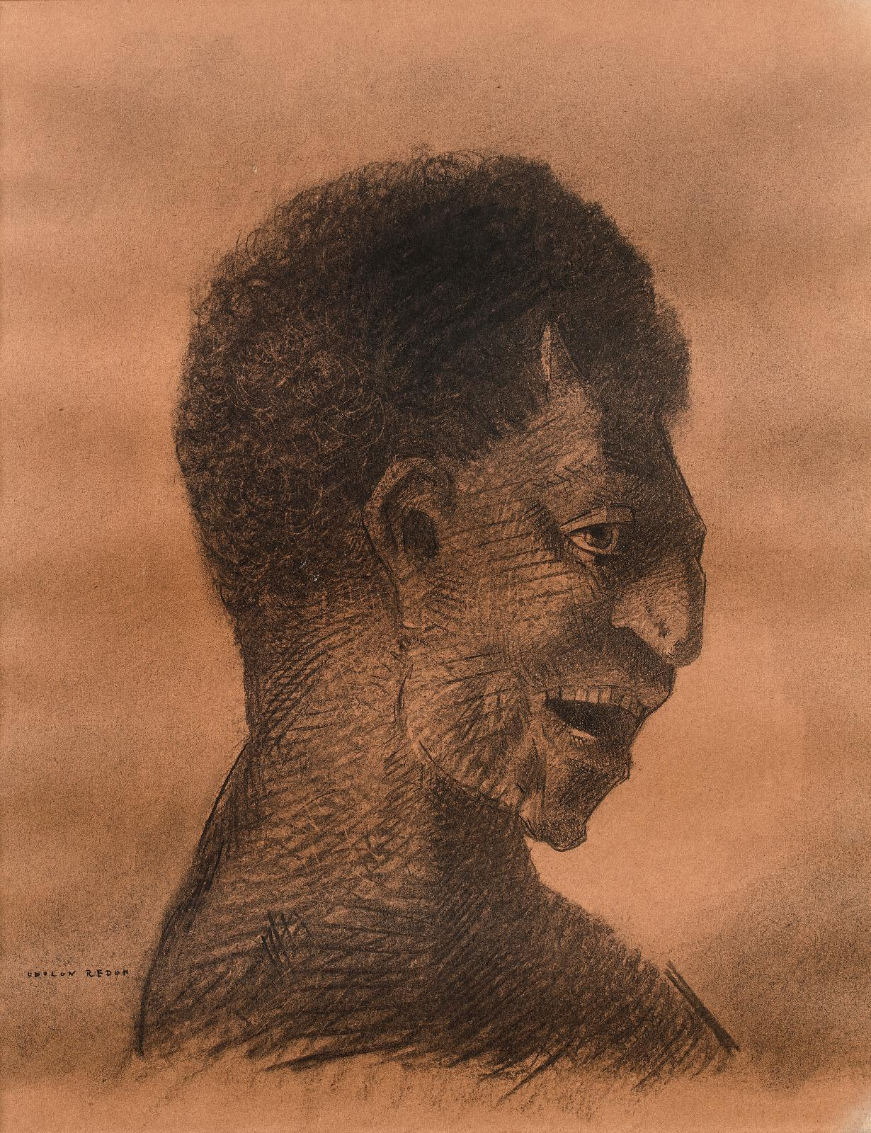 Odilon Redon, Le Satyre au cynique sourire, dessin au fusain et à l'estompe, 35x27cm. Estimation: 30000/50000€