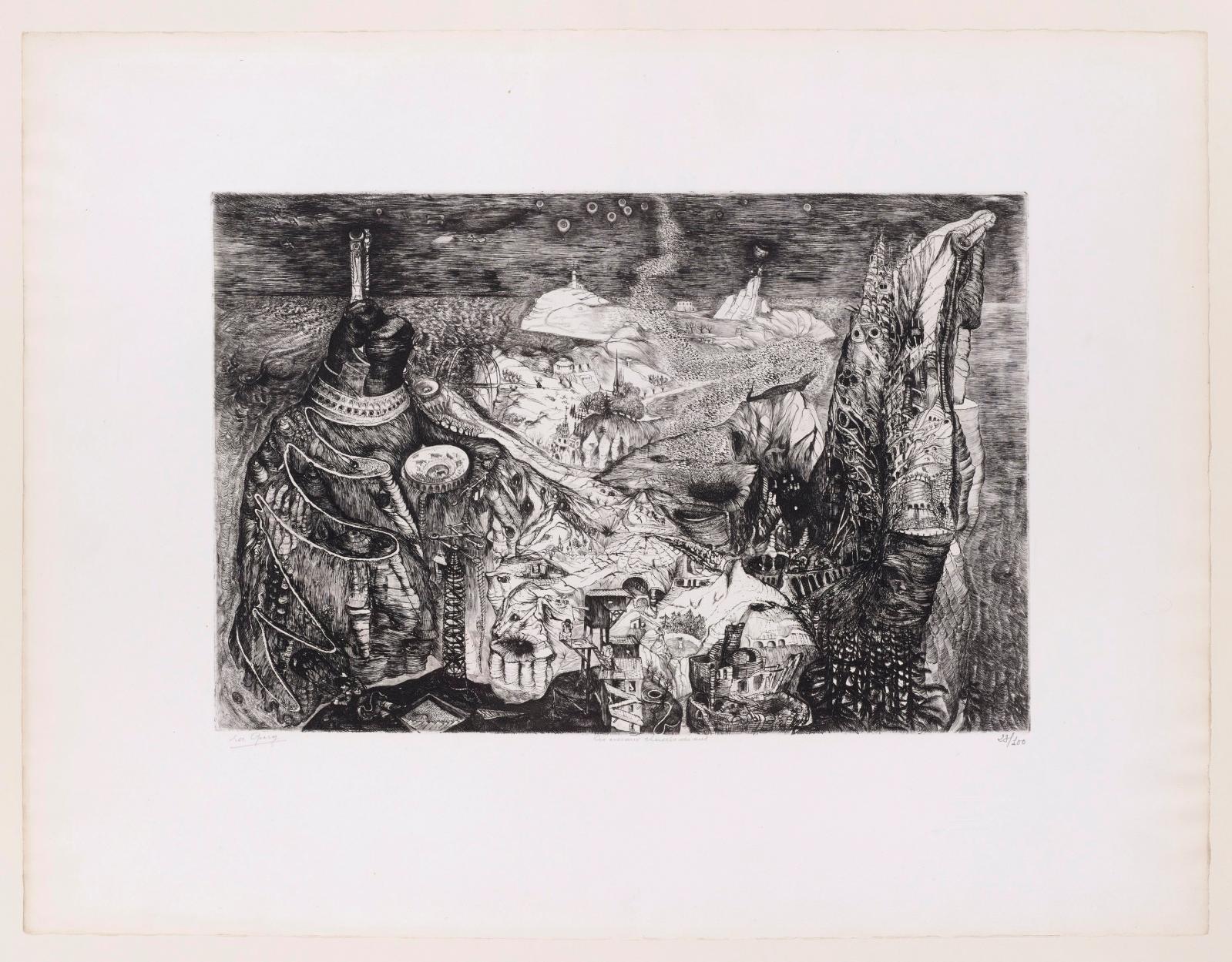 Édouard Goerg (1893-1969), Les Oiseaux chassés du ciel, 1938, eau-forte. © Paris Musées / Petit Palais