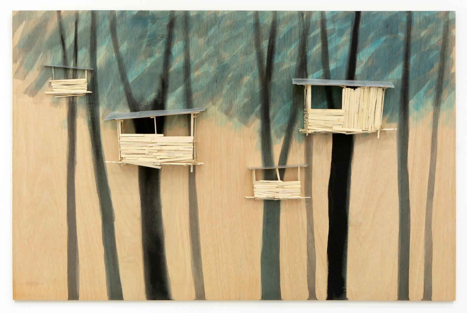 Tadashi Kawamata, Tree hut in Tremblay Plan n°90, 2021, maquette en bois, colle et peinture, 100x153x12cm. ©Tadashi Kawamata - Phot