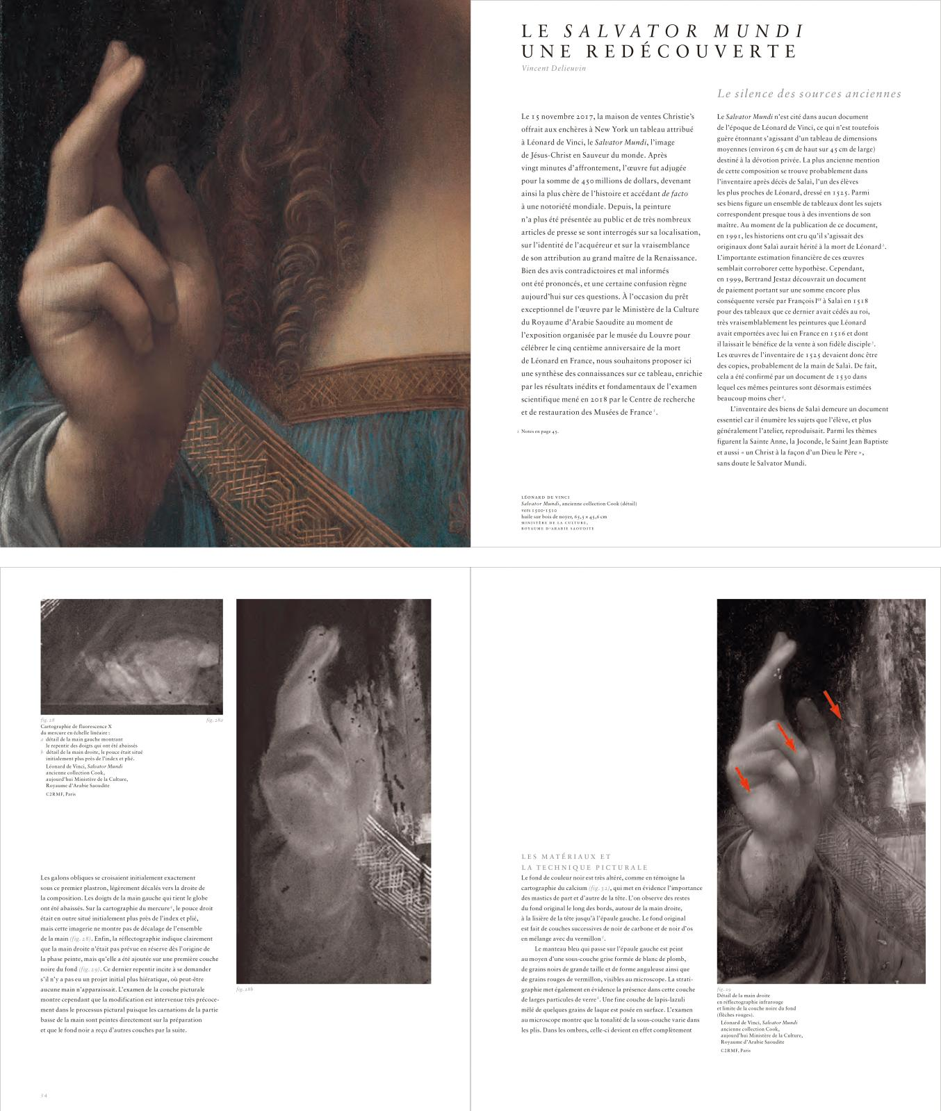Pages du fameux catalogue du Louvre dédié au Salvator Mundi, montrant les détails de la main droite, ajoutée par le peintre, en réflectogr