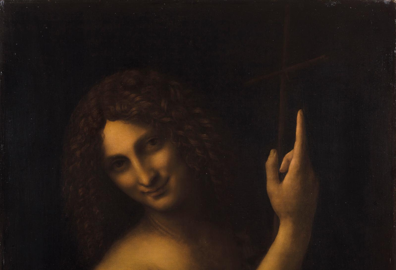 La finesse des boucles et l'usage du vermillon pour marquer les ombres dans la chevelure s'apparentent au traitement des cheveux du Salvat