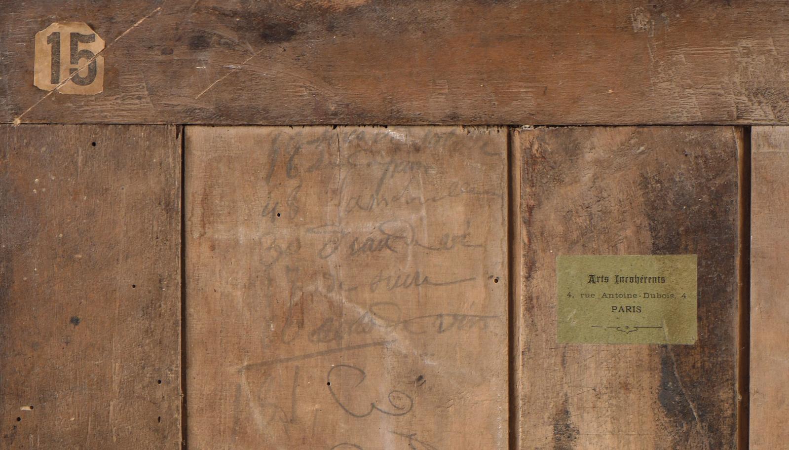 Paul Bilhaud, Combat de Nègres pendant la nuit (détail du revers, fermé par deux panneaux de bois encastrés dans le châssis). © Galerie Jo