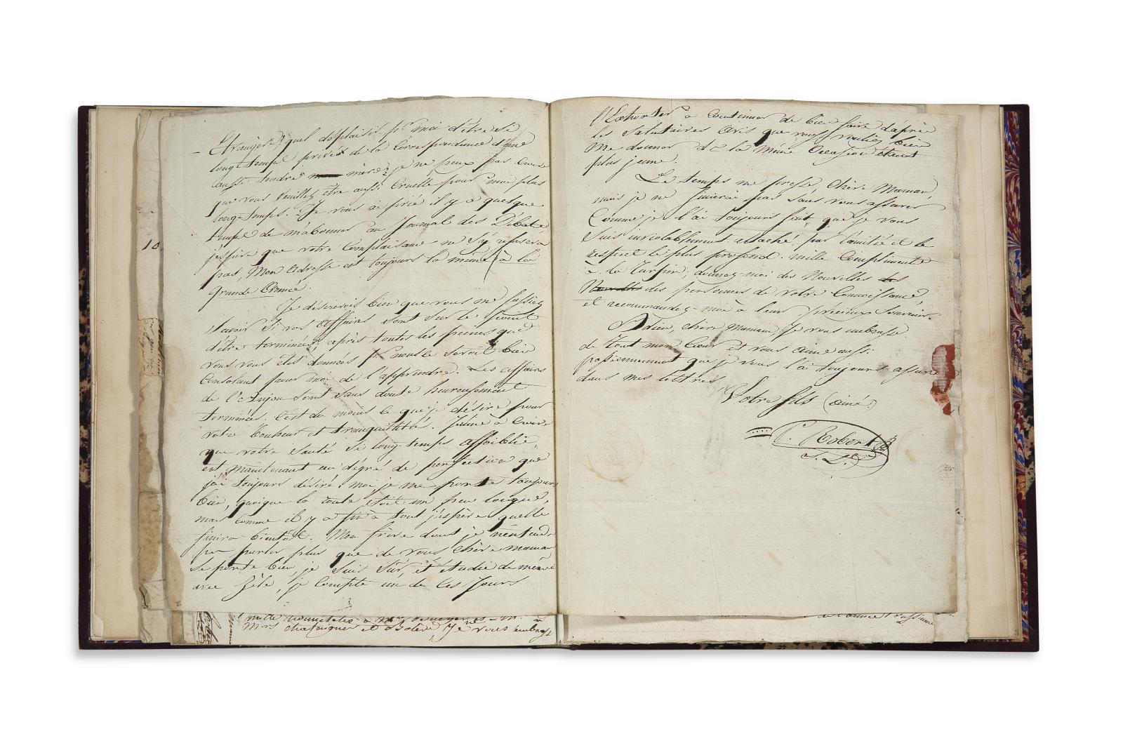 41 lettres autographes signées d'un soldatde la Grand Armée à sa famille, 1803-1806,le tout monté sur onglet dans un volume. Neuilly, 19