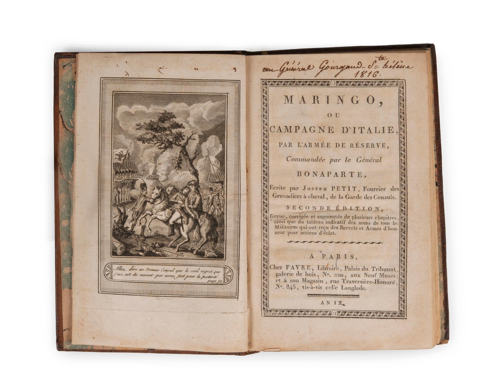 Joseph Petit, Maringo, ou Campagne d'Italie, par l'armée de réserve, Commandée par le Général Bonaparte, Paris, anIX.Reliure aux armes d