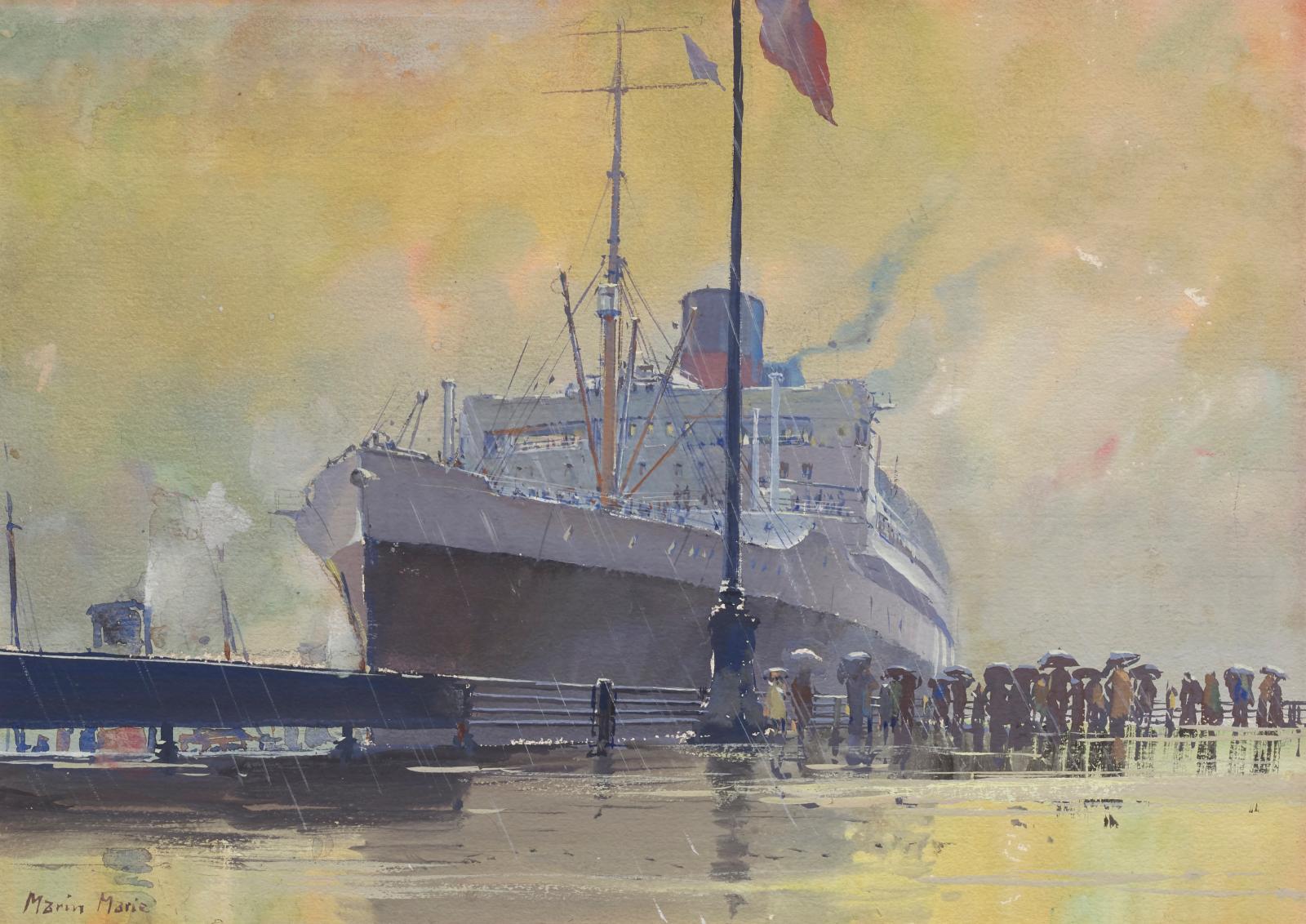 Marin-Marie (1901-1987), L'Arrivée du paquebot « Île-de-France » aux docks de New York, aquarelle gouachée, 40x56cm (détail). Adjugé: