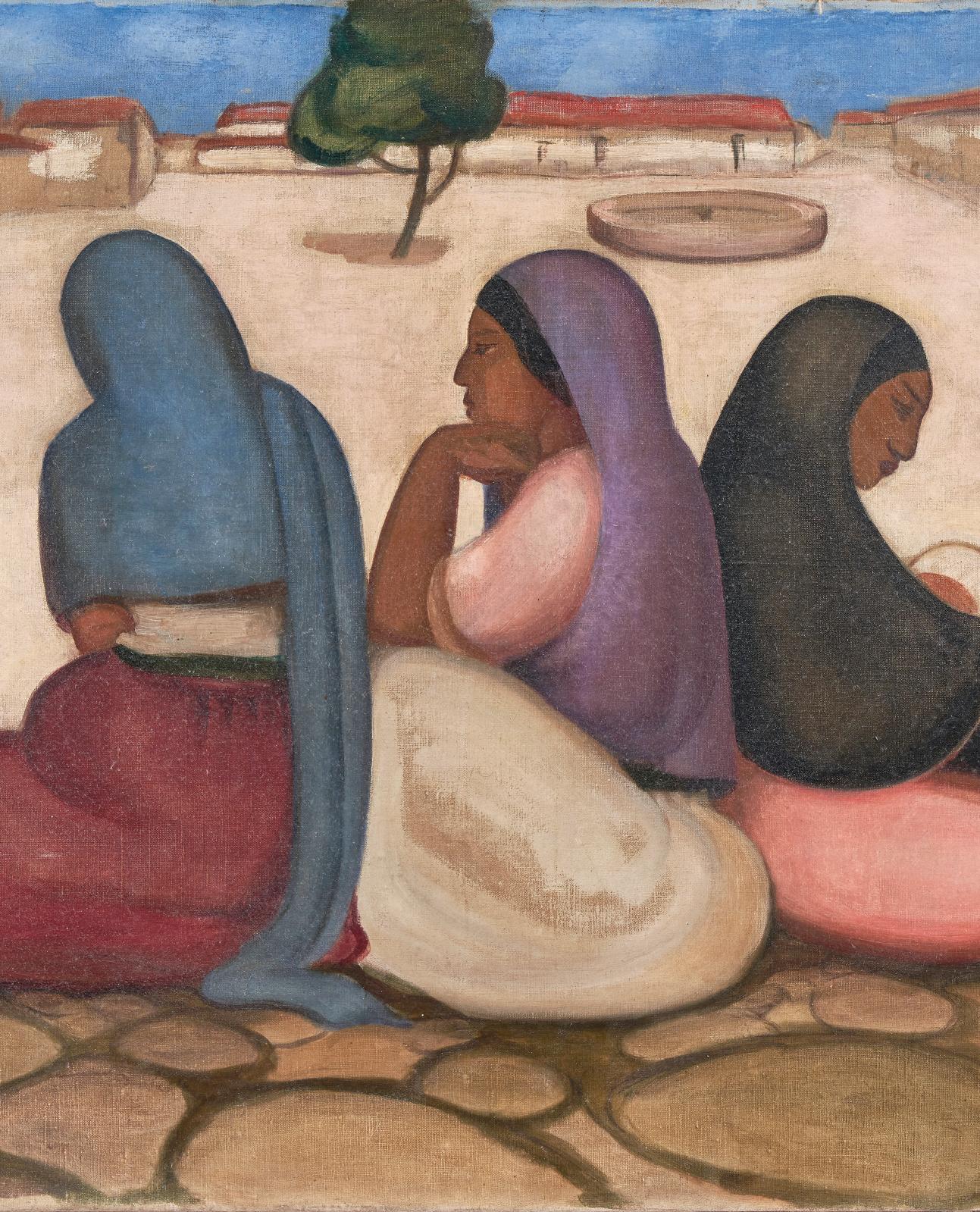 Laura Rodig Pizarro (1901-1972), Trois femmes assises dans un village désert, 1926, huile sur toile, 66x81cm (détail). Adjugé: 23560