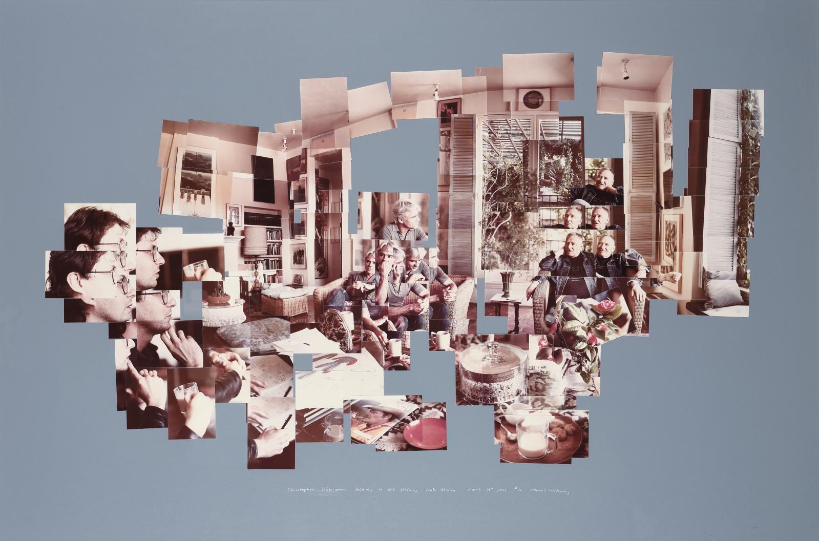 David Hockney (né en 1937), Christopher Isherwood Talking to Bob Holman, 1983, photocollage sur papier monté sur panneau, signé, titré, da