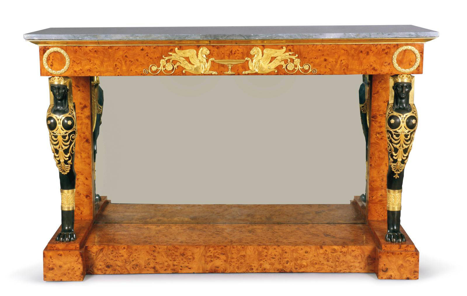 Console, from a series of four placed in the grand salon of the empress in the palace of Saint-Cloud, c. 1800-1802, elm, gilded and patina
