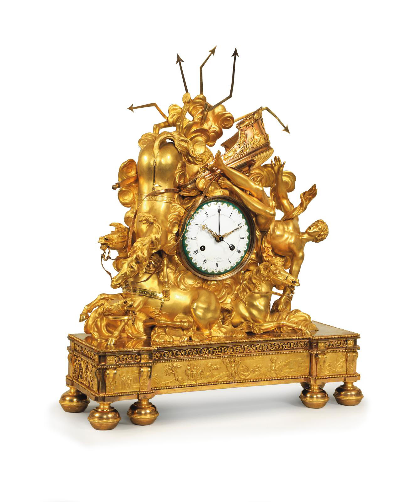 """""""The Fall of Phaeton"""", c 1800, gilt bronze clock, 53.5 x 20 x 67.5 cm/20.9 x 7.9 x 26.6 in, recorded in the apartment of the Grand Marshal"""