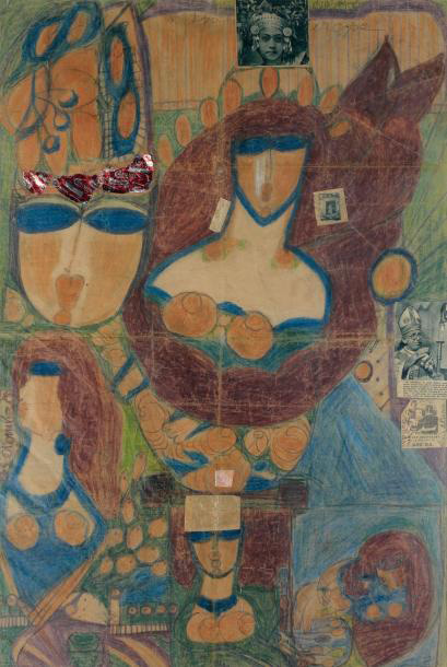 €43,372Aloïse Corbaz, aka Aloïse (1886-1964), Untitled, double-sided work, colored pencils, collage and thread sewn on paper, 89 x 60 cm/3