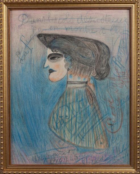 """€9,375""""Medium""""-style work from the early 20th century. Profil de femme à l'œil noir ou Dans les cols désastreux la folie en montre à la ra"""