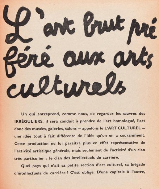 €438Jean Dubuffet (1901-1985), L'Art brut préféré aux arts culturels, October 1949, paperback octavo booklet, catalog of the René Drouin g