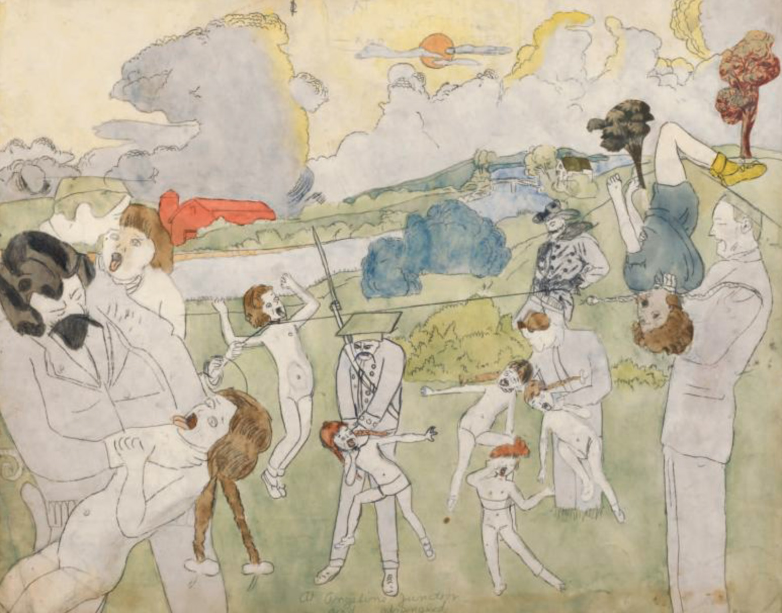 €154,900Henry Darger (1892-1973), At Angeline Junction and Strangled, gouache, watercolor, carbon, pencil and collage on paper, 48.3 x 61