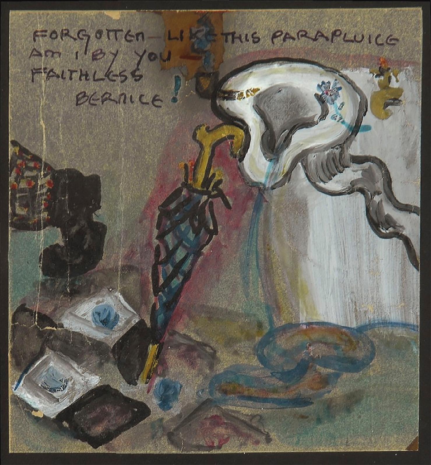 Elsa von Freytag-Loringhoven, Forgotten Like this Parapluice am I by You Faithless Bernice, 1923-1924, gouache sur papier, 13,2x10,4cm.