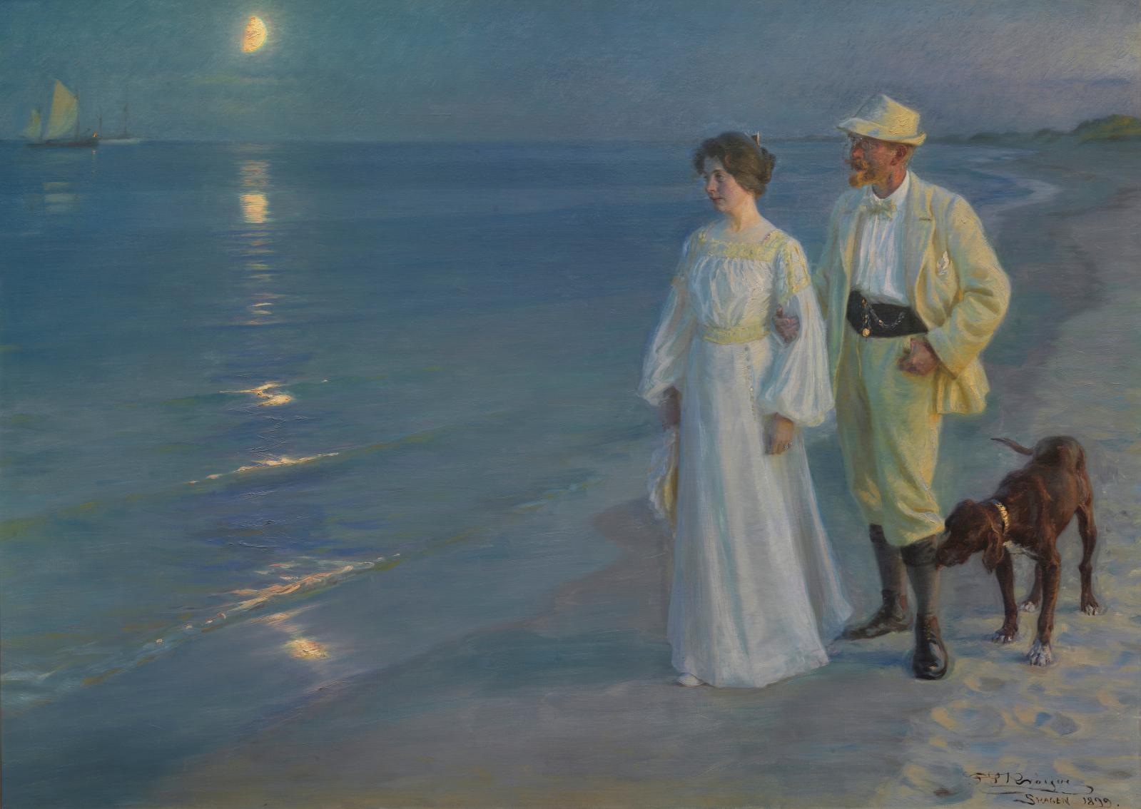Peder Severin Krøyer, Soir d'été sur la plage de Skagen (l'artiste et sa femme), 1899, huile sur toile, 135x187cm, Copenhague, Den Hirs