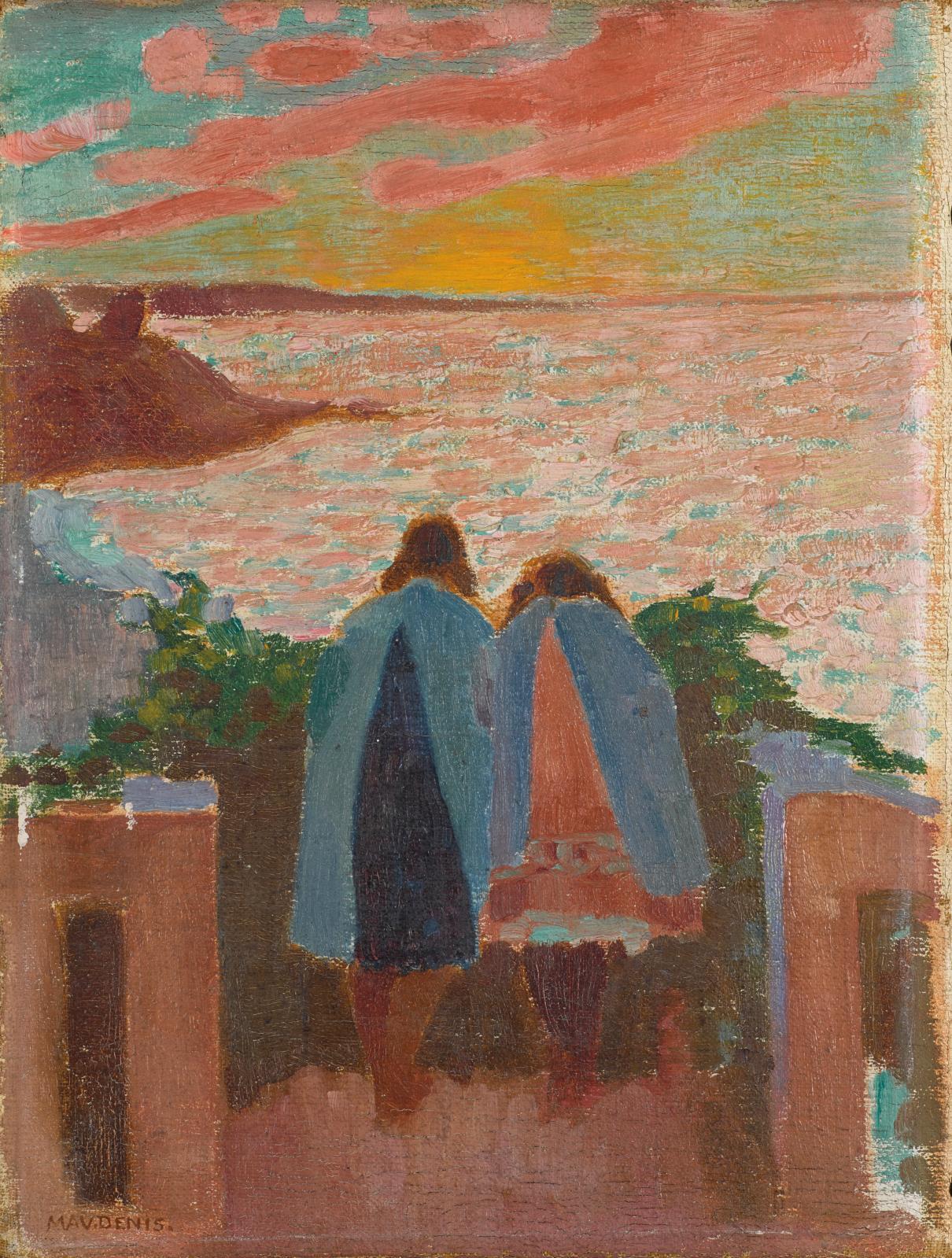 Maurice Denis, Deux jeunes filles sur le balcon de Silencio, 1908, huile sur toile, 33x24,8cm, Fontevraud, musée d'art moderne. © Fonte
