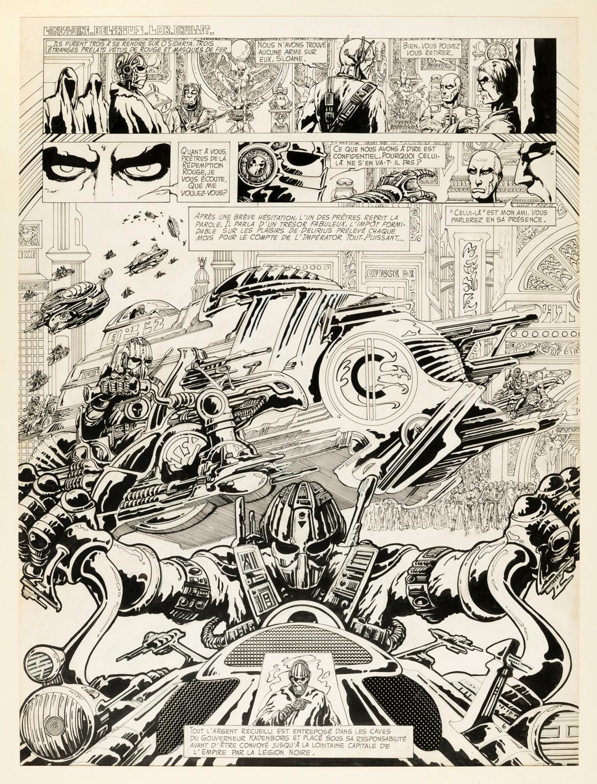 Une planche de Delirius, de Philippe Druillet, de 1973.© collection pierre passebon