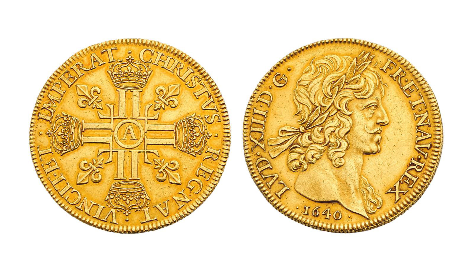 Eight louis d'or, 1640, a coin known as a tribute or pleasure coin, used at the King's gaming table.© Étude Fraysse