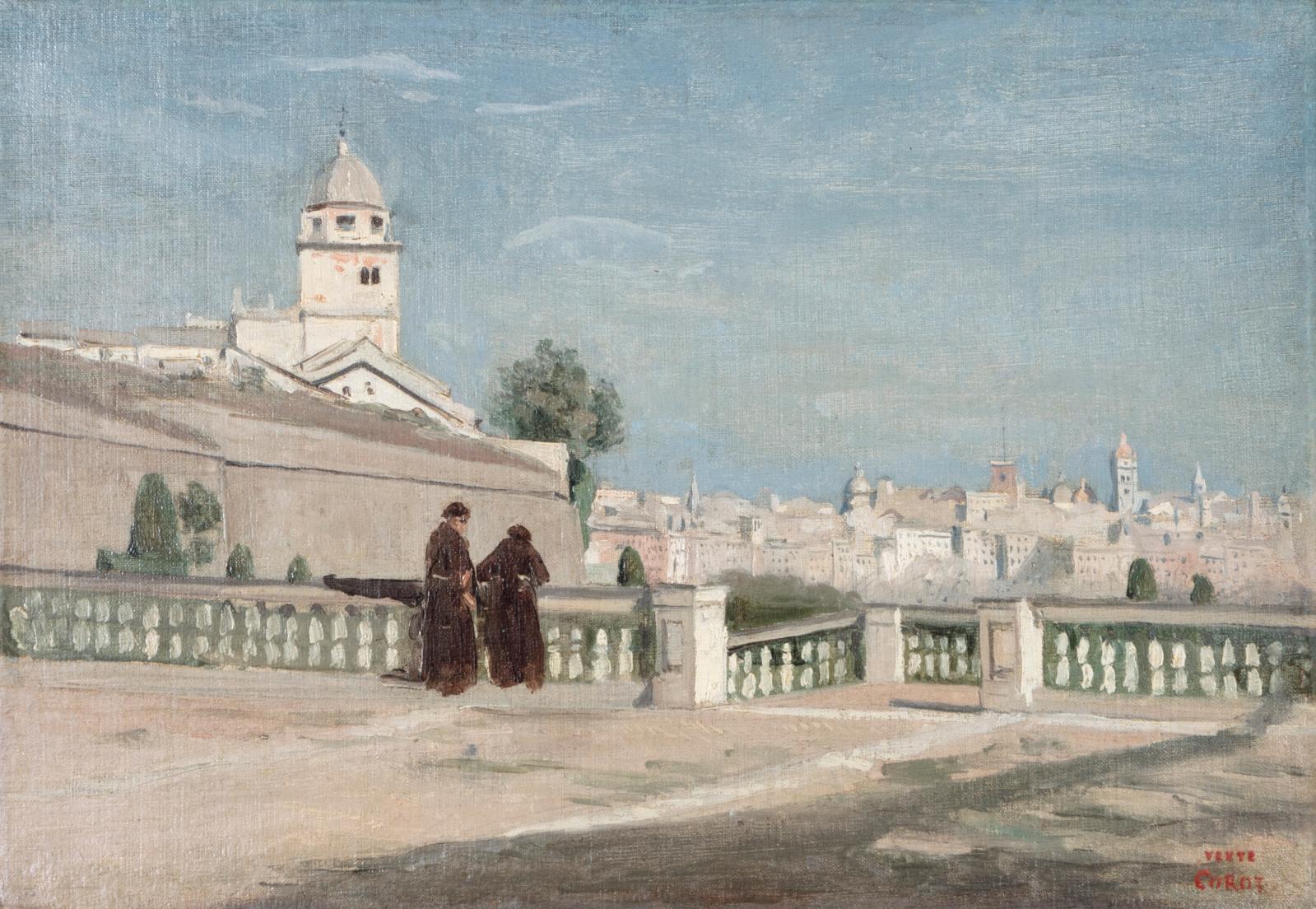 Camille Corot (1796–1875), Deux moines sur la terrasse du palais Doria à Gênes, juin 1834, huile sur toile, 25x36,5cm. Adjugé: 186000