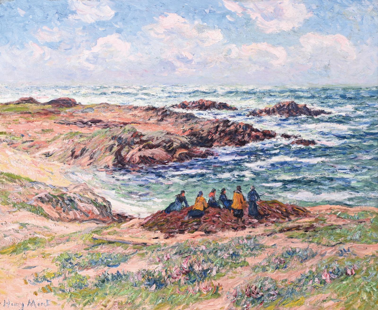 Henry Moret (1856-1913), après avoir longtemps côtoyé les peintres installés à Pont-Aven, fait cavalier seul en s'aventurant jusqu'à l'île