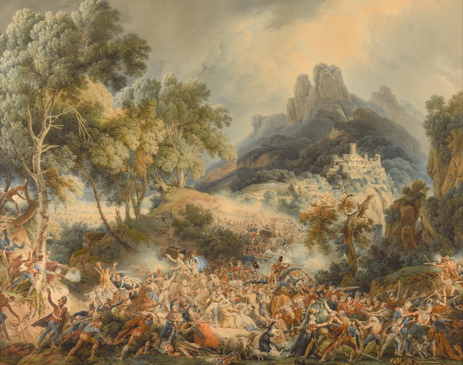 Réalisé à la plume et à l'aquarelle, et rehaussé de gouache, ce grand dessin (59,8x74,7cm, M.Dey, expert) est dû au peintre de bataill