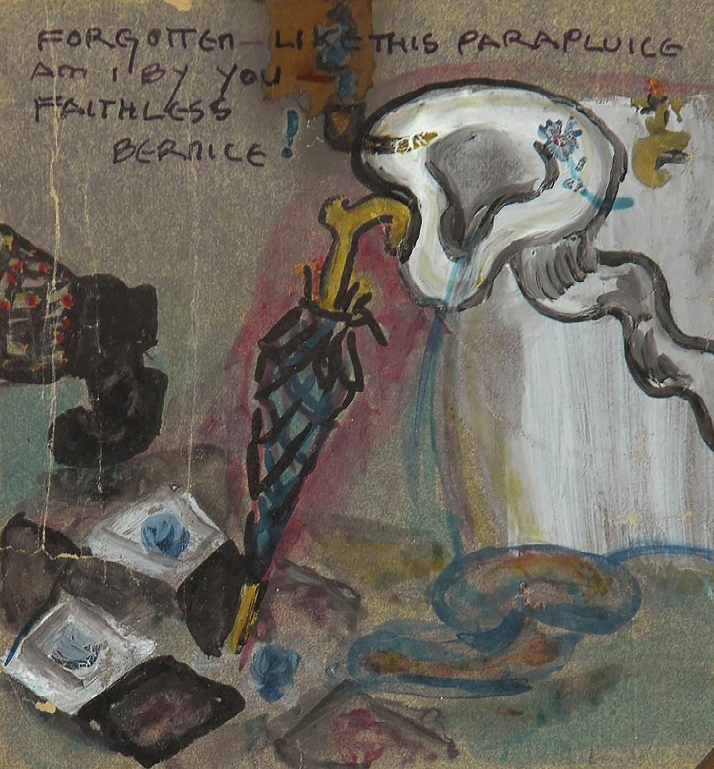 Elsa von Freytag-Loringhoven (1874-1927), Forgotten Like this Parapluice Am I by You – Faithless Bernice, 1923-1924, gouache on paper, 13.