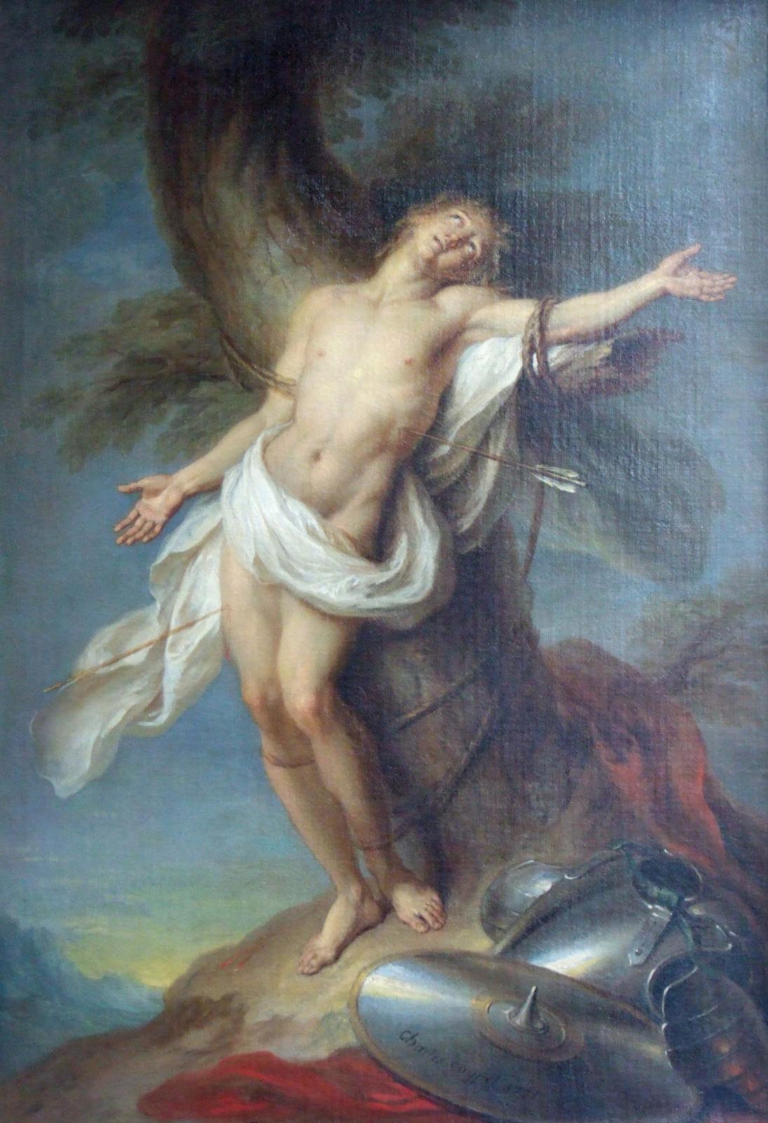 Charles Coypel (1694-1752), Saint Sébastien martyr, huile sur toile, 97x67cm(détail) ; don Annie et Jean-Pierre Changeux au musée Boss