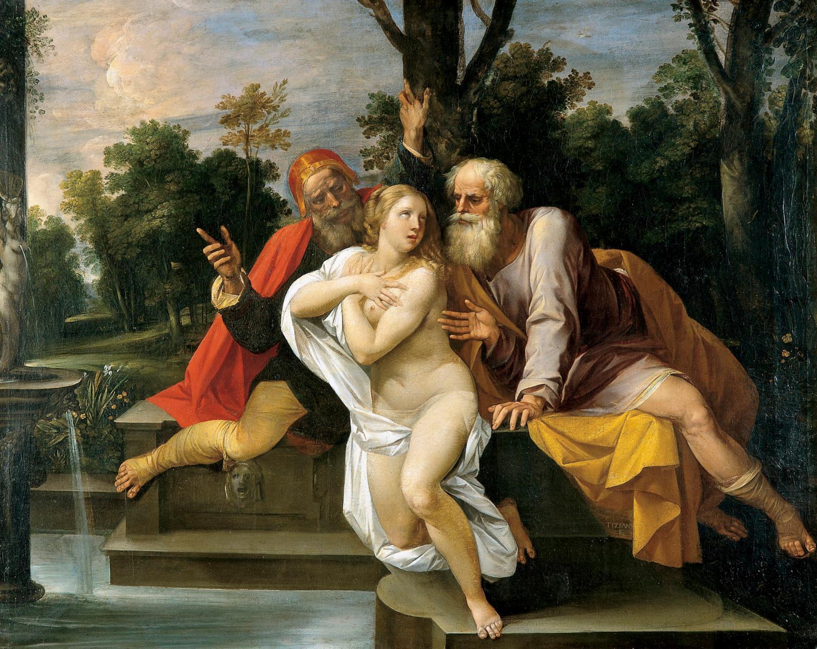 Giuseppe Cesari, dit le Cavalier d'Arpin (1568-1640), Suzanne et les Vieillards, huile sur toile, 115x148cm ; don Annie et Jean-Pierre