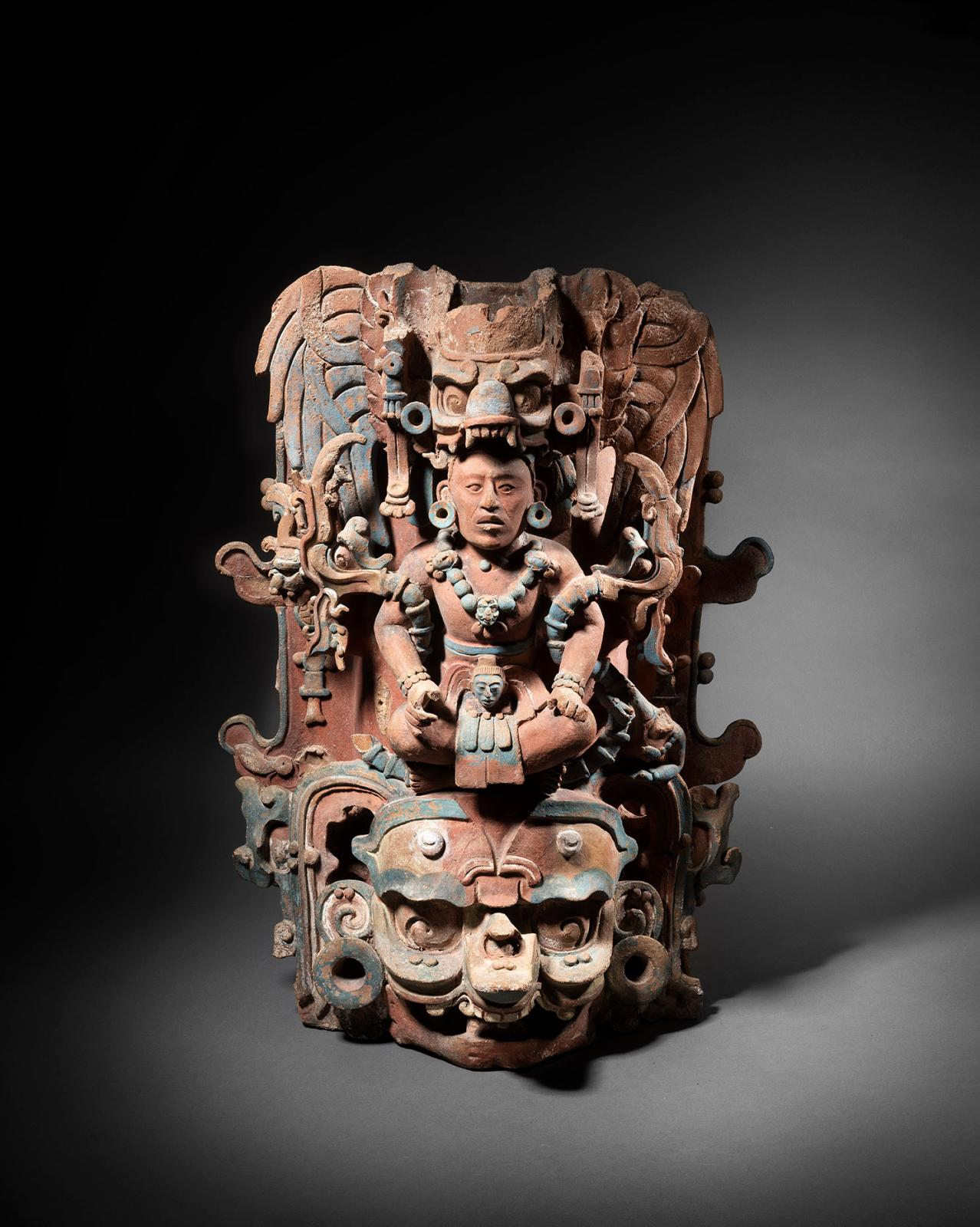 Mexico, Classical period, 600-900 CE, Maya culture, Censor, representing a young lord sitting on the head of the monster Witz Tuun, polych