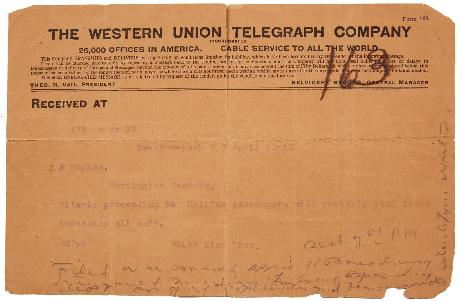 Ensemble de 14 documents relatifs au naufrage du Titanic, le 14 avril 1912. Paris, Drouot, 18 novembre 2019. Aguttes OVA Adjugé: 6900€