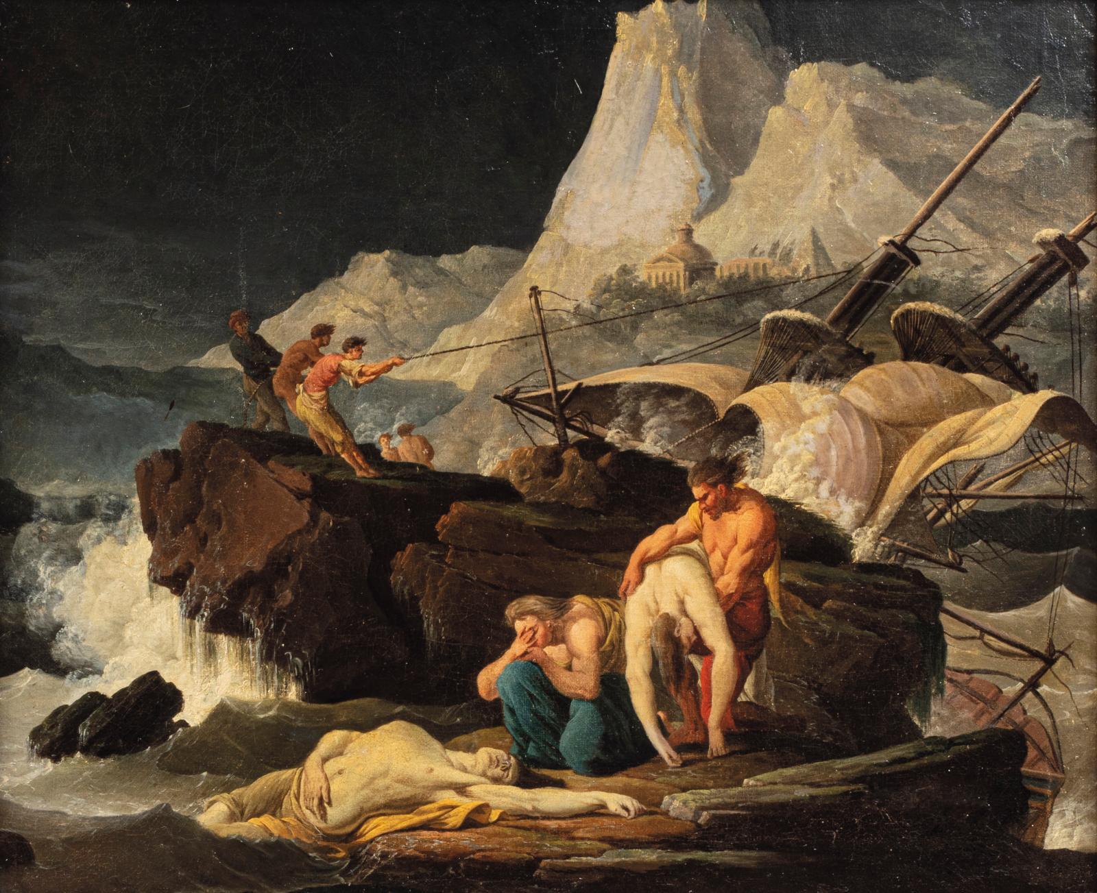 Henri d'Arles (1734-1784), Scène de naufrage, huile sur toile, 50,5x62cm (détail). Paris, salle V.V., 1er juillet 2020. Millon OVV. M.