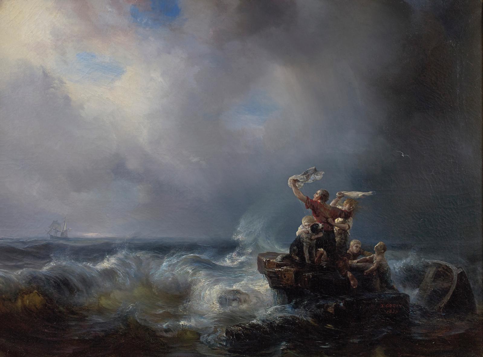 Théodore Gudin (1802-1880), Les Rescapés, 1853, huile sur toile, 101x135,5cm. Paris, Drouot, 17 juin 2016. Millon OVV. Adjugé: 19342