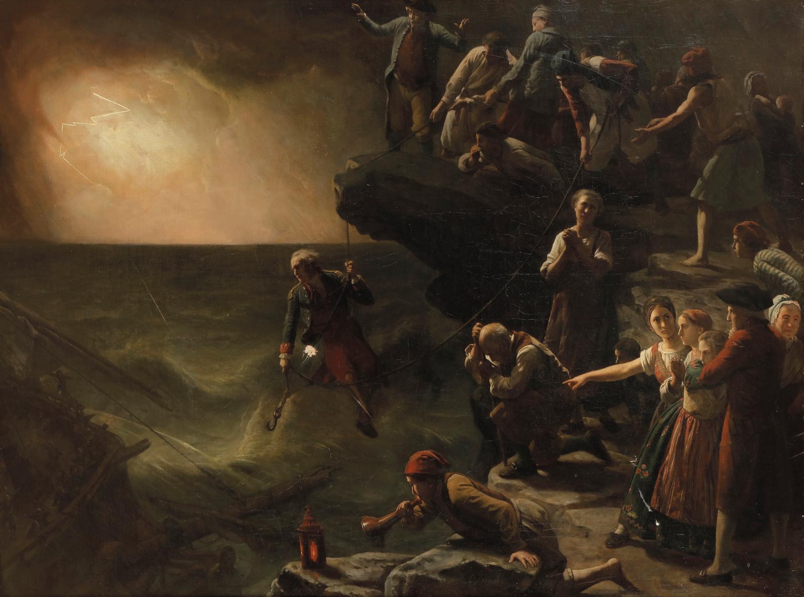 François Auguste Biard (1799-1882), Scène de naufrage en Norvège, huile sur toile, 85x112cm, Paris, Drouot, 19 décembre 2018. Ader OVV.