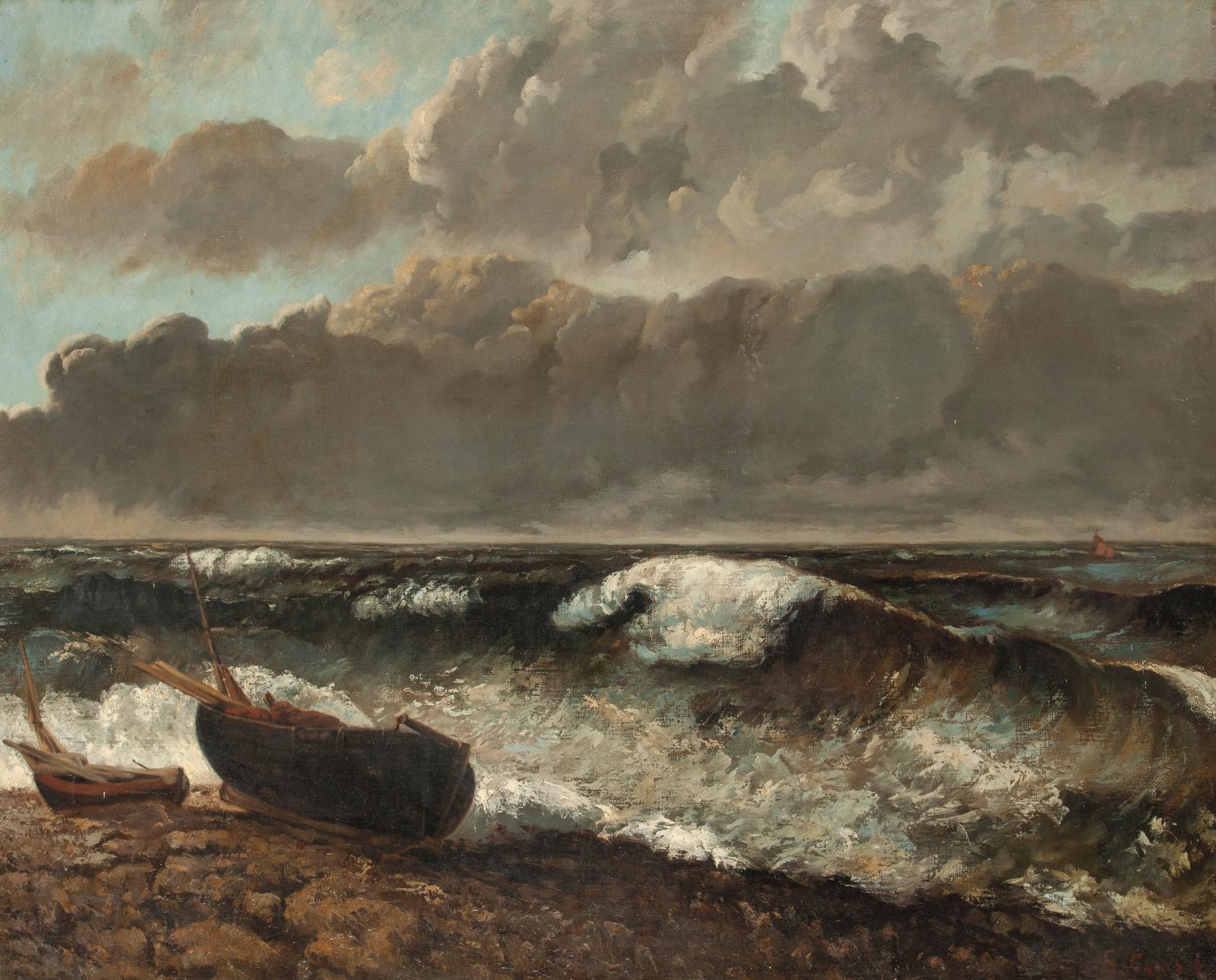 École française vers 1880, d'après Gustave Courbet, La Vague, huile sur toile, 80x100cm. Paris, Drouot, 30 octobre 2020. Gros & Delettr