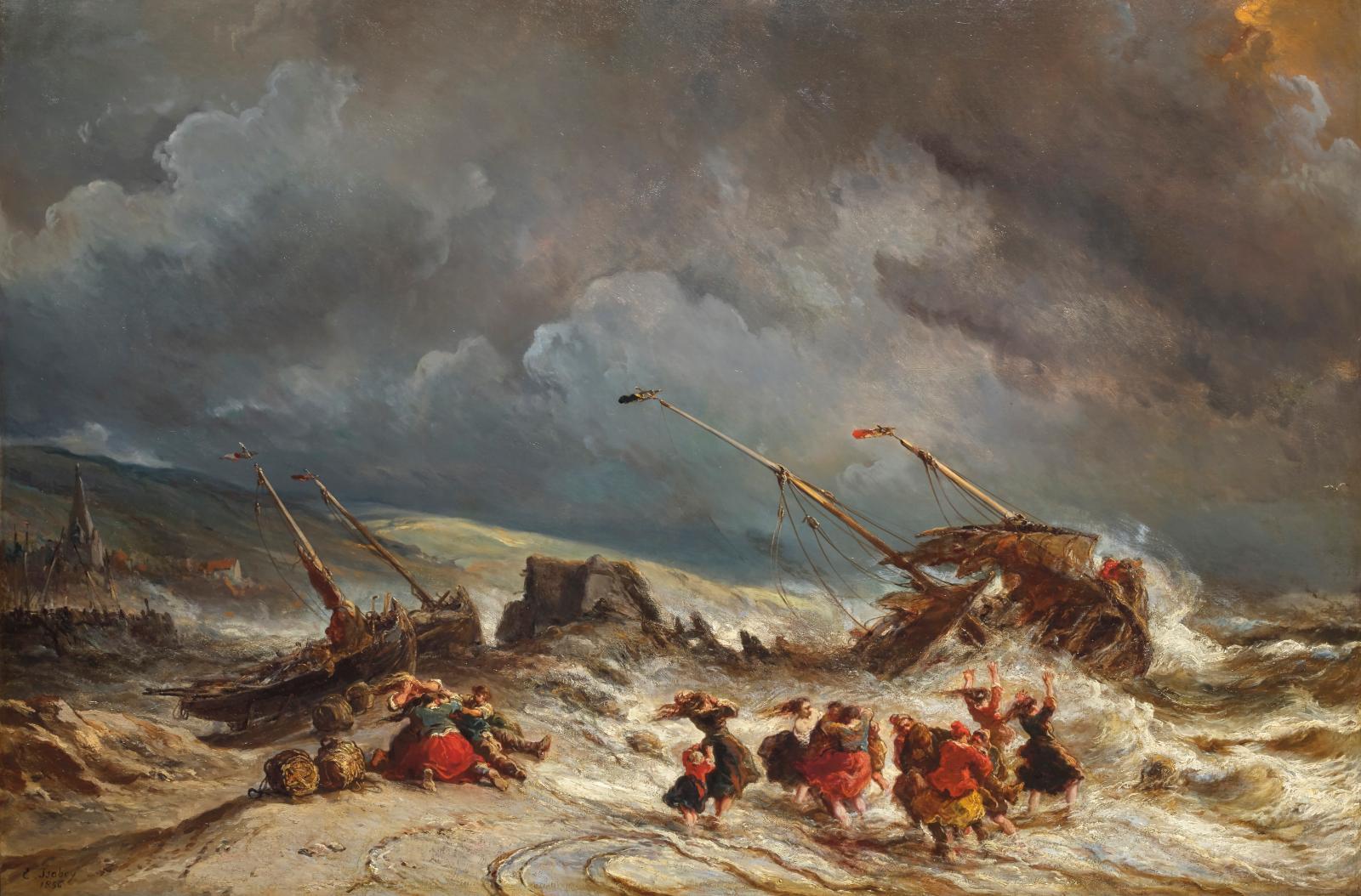 Eugène Isabey (1804-1886), Scène de naufrage, 1856, huile sur toile, 95x143cm. Paris, Drouot, 23 avril 2021. Tessier & Sarrou et Associ