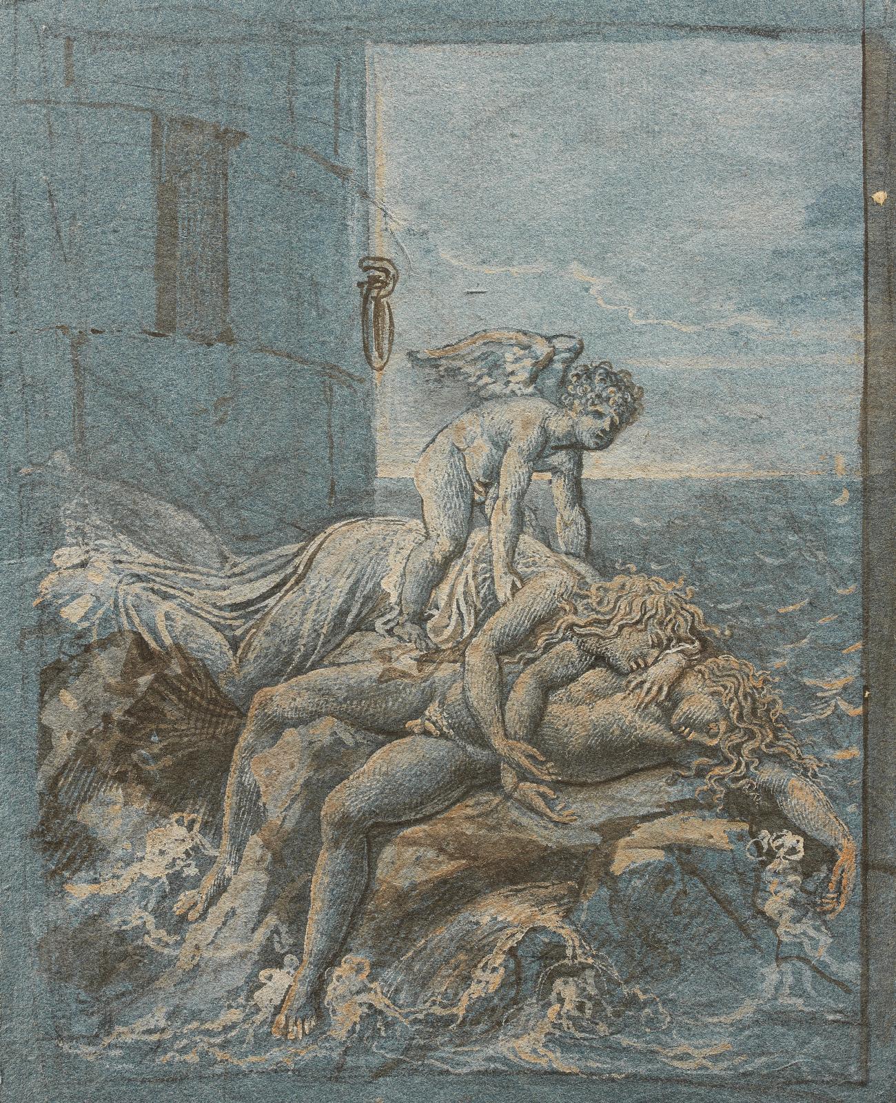 Anne-Louis Girodet de Roucy dit Girodet (1767-1824), Héro et Léandre, plume et encre brune, lavis brun et rehauts de gouache blanche sur t