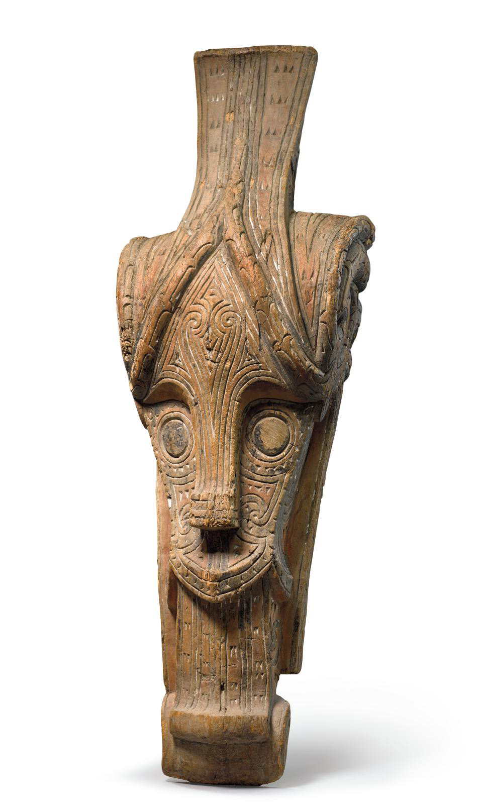 Batak people, Sumatra, Indonesia, Head of Singha, no date, wood with traces of polychrome, 125 x 43 x 35 cm/49.21 x 16.30 x 13.78 in. Font