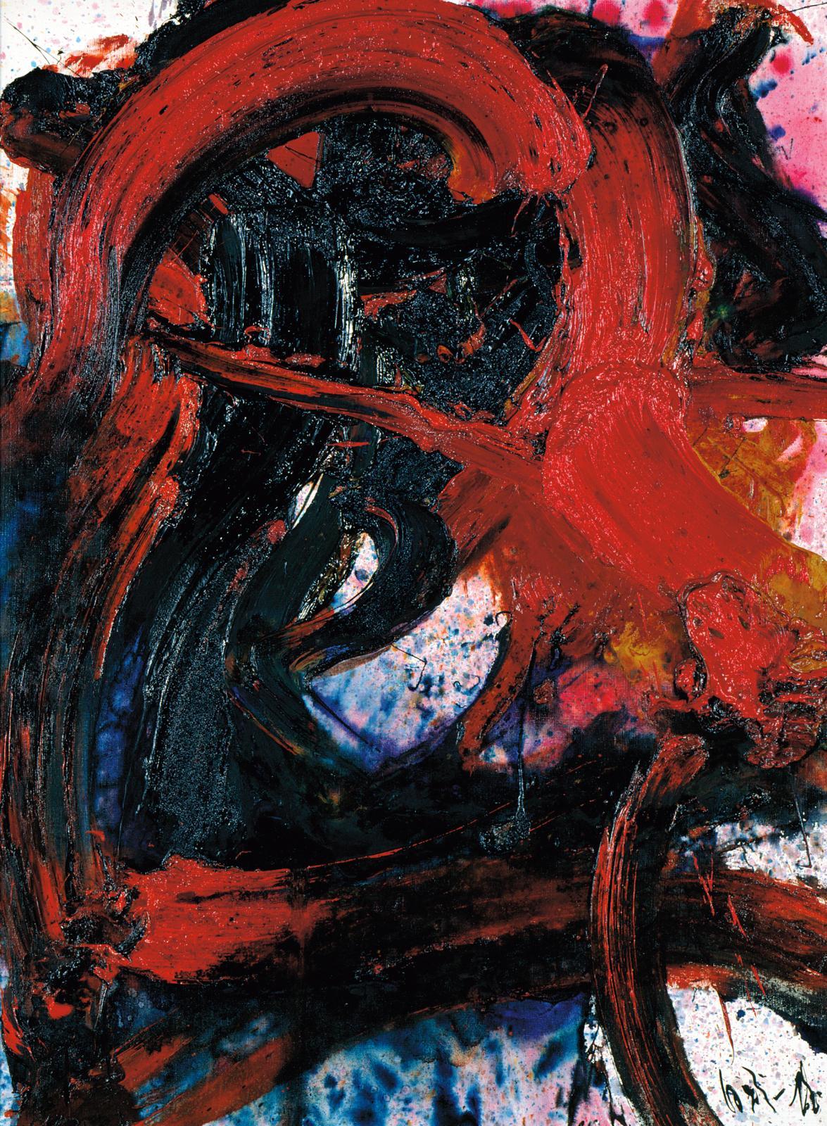 Kazuo Shiraga(1924-2008), Peinture n°29, 1962, huile sur toile, 130x97cm, les Abattoirs, Musée-FRAC Occitanie Toulouse. Photo Jean-Lu